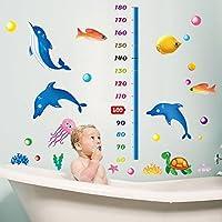 Delfino Pesce Tartaruga Ocean World Altezza misurata in PVC adesivo da parete in vinile, removibile salone camera da letto Cucina Art Picture Murals Sticks finestra porta decorazione + 3d rana regalo adesivo per