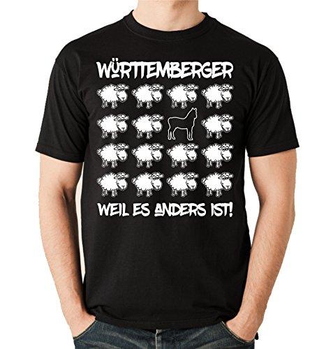 Siviwonder Unisex T-Shirt BLACK SHEEP - WÜRTTEMBERGER Warmblut Pferd - PFERDE Fun Schaf Schwarz