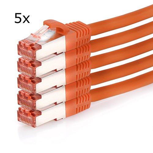 TPFNet (5er PACK) 0,25m CAT.6 - CAT6 Premium Ethernet LAN Patchkabel SFTP DOPPELT GESCHIRMT | Gigabit Netzwerkkabel | LAN-Kabel | RJ45 Kabel | Internetkabel | RJ45 Netzwerk Anschlusskabel | Patch Kabel | Ethernet Kabel mit Knickschutztülle orange (RJ45, Cat 6, Twisted Pair, S/FTP (PIMF) DOPPELT GESCHIRMT, halogenfrei, 1000 Mbit/s / 1 Gigabit)