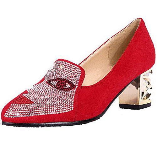 AgooLar Femme Suédé Couleur Unie Tire Pointu à Talon Correct Chaussures Légeres Rouge