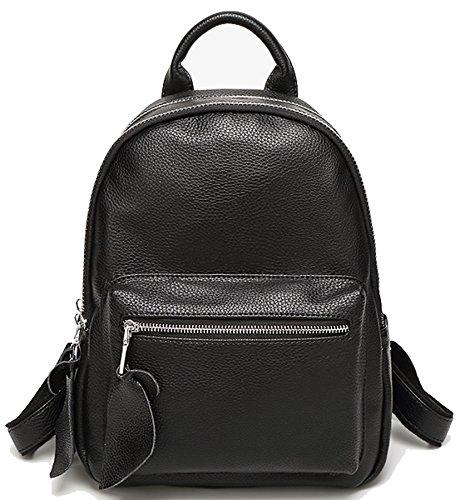 Caige Mädchen arbeiten echtes Leder-Schulter-Beutel-Rucksack College-Leger Daypack Schultertasche Damen Messenger Bag Reisetasche Rucksack Schultasche für Teenager-Mädchen in schwarz (echtes Leder-Rindleder)