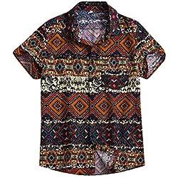 YEBIRAL Hombre Polos Manga Corta Camisetas Hawaiana Casual Verano Bohemio Solapa Estampado con Bolsillo Camisas BlusaTops T-Shirt(M,Marrón)
