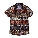 Leey Camicia Etnica Uomo Stampa Tradizionale Hippy Boho Camicia Uomo Eleganti Slim Fit Casual Manica Corta T-Shirt