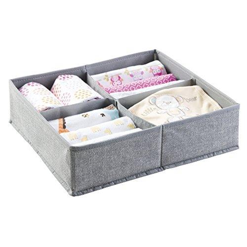 mDesign Baby Organizer – große Aufbewahrungsbox mit vier Fächern für Windeln, Feuchttücher etc. – ideal zur Spielzeug Aufbewahrung – grau