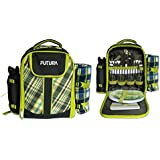 Futura 4 Person Picnic Backpack/Rucksack with cooler compartment/padded straps/bottle holder/front pocket/fleece blanket with waterproof backing & 21 Picnic set