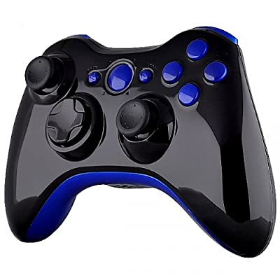 Xbox 360 Wireless Controller - Polished Piano Black with Blue Buttons
