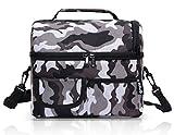 PuTwo Kühltasche 8L Lunch Bag Isoliertasche Picknicktaschen Wasserdichte Mittagessen Tasche LunchTasche für Kinder und Erwachsene - Camfoulage Grey