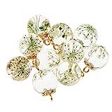 Homyl Set DE 10 Breloque de Bracelet Collier pour Femme Bijoux Pendentif en Verre et Résine - Cadeau Pas Cher pour Petite Amie - Blanc...