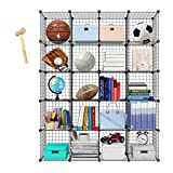 PONCTUEL ESCARGOT Metal Wire Storage Cube Wire Standing Storage Wardrobe DIY Storage Unit Shelving Organizer with 2 Rail for Personal Items Books Clothes Shoes Toys (20 cubes)