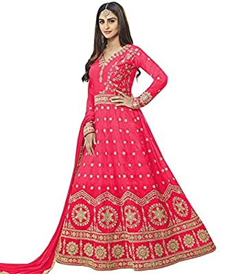 DynaBella Women's Silk New Arrival Fancy Salwar suit for Wedding Wear Punjabi Salwar Kameez Floor Length semi stitched Red color(LN-12101)