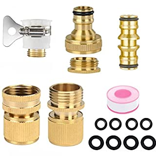 Abimars Brass Garden Hose Expandable Stretch Fittings Tap Adaptors Connectors - 1/2 Inch and 3/4 Inch 2-in-1 Female Threaded Faucet Adapter - 3/4