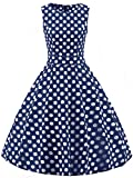 FAIRY COUPLE 50s Vintage Retro Floral Cocktail Swing Party Dress with Bow DRT017(XL, Navy Blue White Dots)