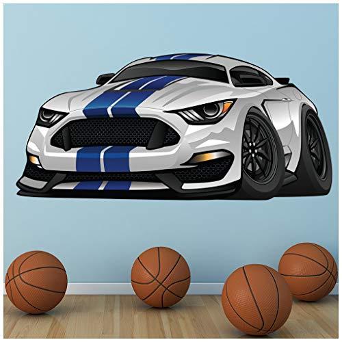 azutura Mustang bianco e blu Adesivo Murale Auto sportiva Adesivo Da Parete Garage per ragazzi Home decor Disponibile 8 misure Piccolo Digitale