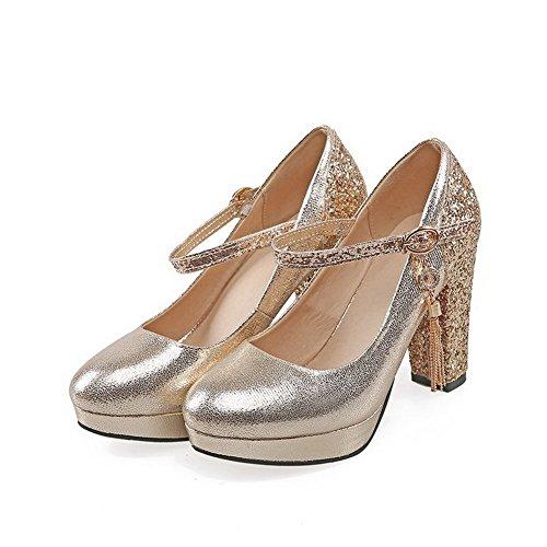 ae9db4b4f14816 AllhqFashion Damen Rund Zehe Hoher Absatz Gemischte Farbe Schnalle Pumps  Schuhe Golden ...