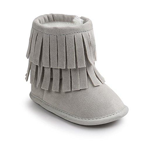 Estamico Kleinkind Baby Jungen Mädchen Winter Warme Weiche Sohle Quaste Schnee Stiefel Mokassins Schuhe Hellgrau 6-12 Monate (Mädchen Cowboy-stiefel, Größe 11)