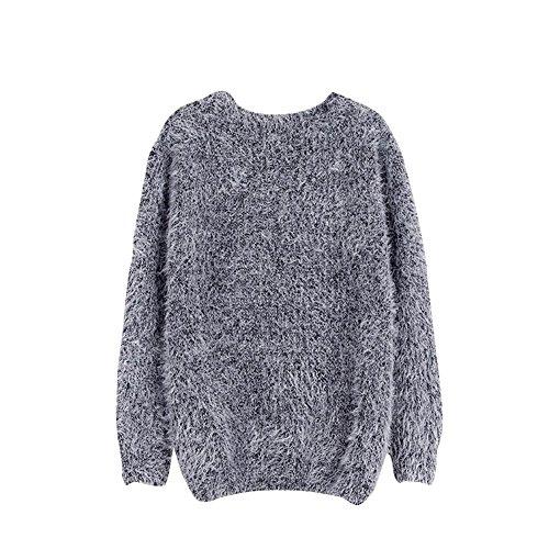 Balai Maglia manica lunga donna maglia a maglia Maglia cappotto Maglione Pullover Cardigan Grigio