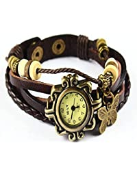 MVS Pendant Leather Bracelet Watch - Analog Display - Off White Dial - For Women