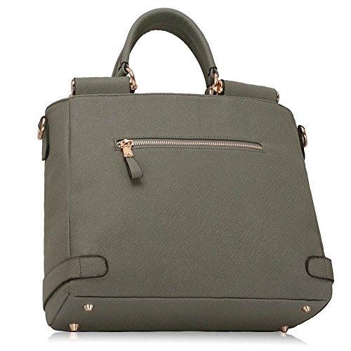 LeahWard® Damen Kunstleder Qualität Handtasche Damen Mode Essener Tragetasche Berühmtheit Stil Qualität Taschen CWS00237A Grau/Weiß