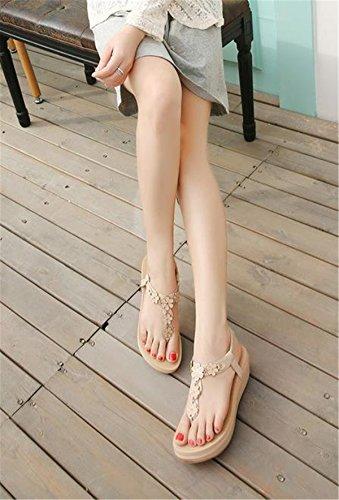 SHUNLIU Frauen Sommer Sandalen Klippzehesandelholze Mit hohen Absätzen Strand Schuhe Aprikose