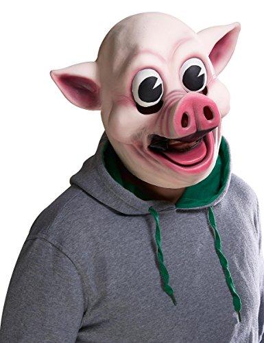 (KULTFAKTOR GmbH Psycho-Schwein Halloween-Maske rosa-Weiss Einheitsgröße)