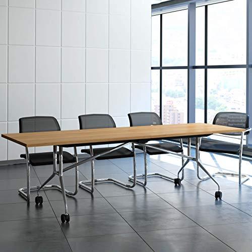 Weber Büro Falttisch Klapptisch 2.400 x 1.000 mm Libro Eiche Konferenztisch klappbar rollbar auf...