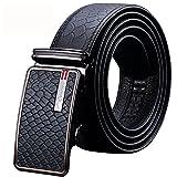 Männer Echtes Leder Gürtel Für Luxus Automatische Schnalle Designer Gürtel Hohe Qualität Einstellbar Business-Stil,Black,XXL