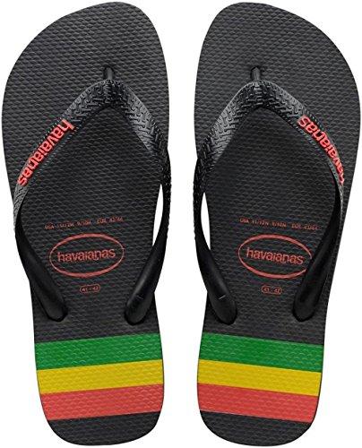 Havaianas Top Stripes Logo - Sandali  da uomo, colore Nero (Black /White 0133), taglia 43/44 EU( BR 41/42)