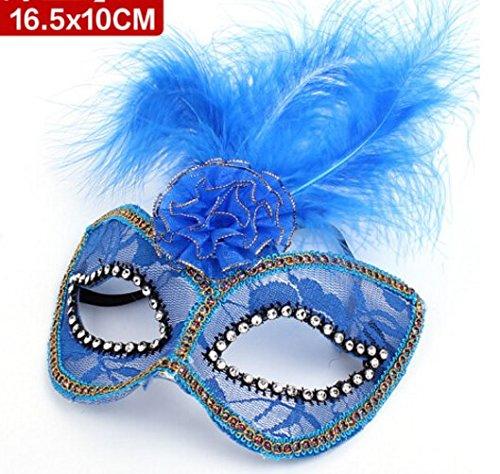 Halloween Maske Mädchen Kostüm Kleid Ball Party Kids Lacy bis Maske blau (1)
