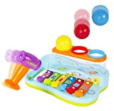#10: BAYBEE Funbee Musical Toy Xylophone Piano Pounding Bench with Multi-Color Balls and Hammer