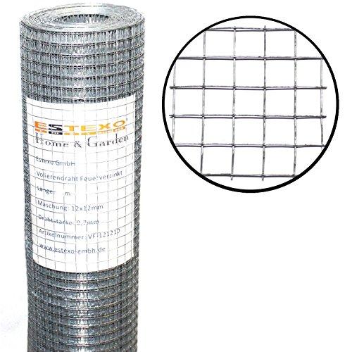 Estexo H&G Volierendraht 1m x 25m / Maschung: 12x12 mm, Drahtgitter 4-Eck Maschendraht Schweißgitter Zaun