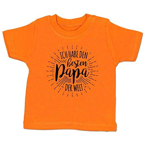 Shirtracer Sprüche Baby - Ich Habe Den Besten Papa der Welt - 3-6 Monate - Orange - BZ02 - Babyshirt Kurzarm (Tun Daddy Ich)