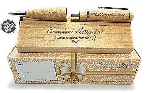 Penna regalo originale in legno multifunzione usb 32gb, regalo per: laurea, compleanno, anniversario. incisione a mano