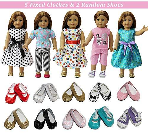 ZITA ELEMENT 7 Stück Puppenzubehör für 43-46cm Babypuppe und 18 Zoll American Girl Doll Puppe Kleidung Puppenbekleidung 5er Kleider mit 2 Paare Schuhe Puppenkleidung - Super Kreative Paare Kostüm