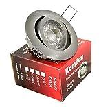 12V Bajo 5W = 35Watt LED Downlights Einbaustrahler in edelstahl, chrom, weiss, NIEDERVOLT 12Volt MR16 / GU5.3, inkl. 5W LED in tageslichtweiss / kaltweiss (Edelstahl-gebürstet)