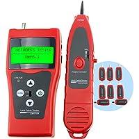 Probador digital Red Ethernet Comprobador de cables de red Patch Cable Tester prufer prueba Tactil leitungstester Fur RJ45 RJ11 5E 6E STP UTP Cable USB Twin Manches LAN de teléfono de red coaxial de alambre de cable de alimentación Ethernet de círculos de prufv orrichtung Tracer de uberprufungs de analizador, 1 ~ 350 m (3 ~ 200 ft)
