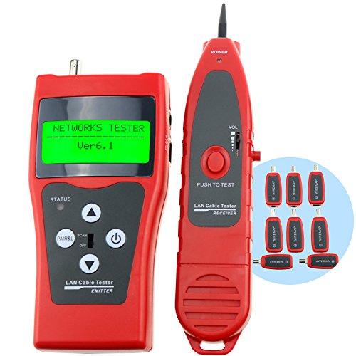 Digital Netzwerktester Ethernet Kabeltester Netzwerk Patchkabel Tester Prufer Testgerat Leitungstester fur RJ45 RJ11 5E 6E STP UTP USB Kabel twin verdrehte LAN-Netz-Telefon-Koaxialdraht-Kabel-Stromkreis-Ethernet-Prufvorrichtung Tracer-Uberprufungs-Analysator, 1 ~ 350M (3 ~ 200ft)