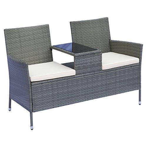 Outsunny Polyrattan Gartenbank Gartensofa Sitzbank mit Tisch 2-Sitzer Stahl Grau B133 x T63 x H84cm