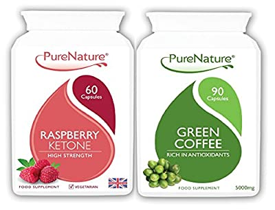 100% Pure Raspberry Ketone Highly Concentrated 12000mg Daily Serving + Green Coffee Bean 15000mg Highest Available Strength Premium UK Products 150 Capsules Suitable for Vegetarians & Vegans FREE UK Delivery from Distributed by Be-Beautiful-Online