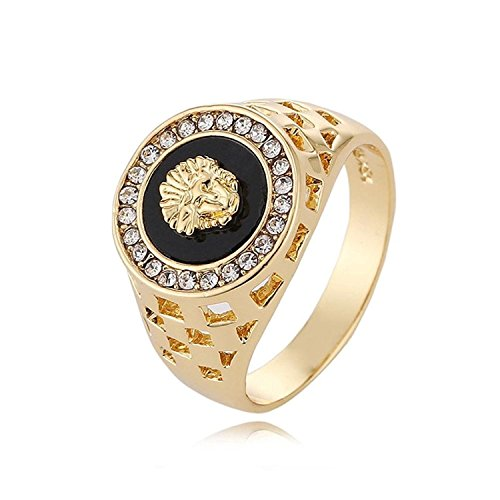 Beauty Top 2018 Women Men Wild Diamond Lion Head Ring (gold, 11)