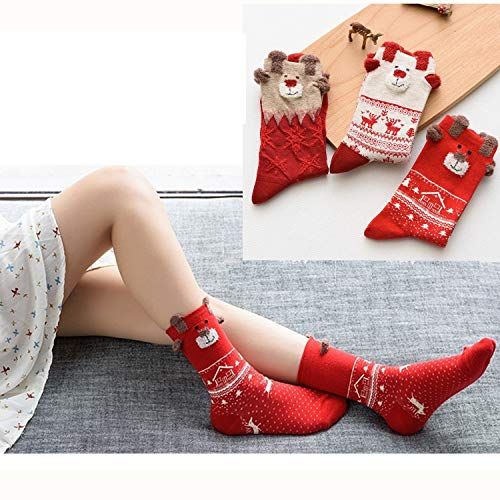 3 Stück Damen Weihnachtssocken Baumwolle Schraube Strümpfe Mädchen Socken für Weihnachten Weihnachtsgeschenk Set