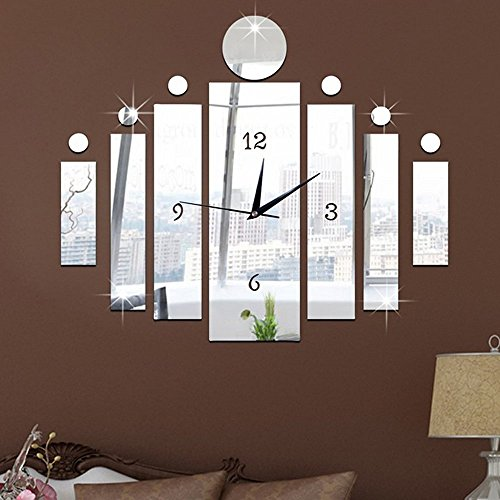 ForepinR Modern Design 3D DIY Acrylic Plastic Mirro Big Sticker Wall Watch Clock Home Decor Living Room Decoration Silver Pattern 10