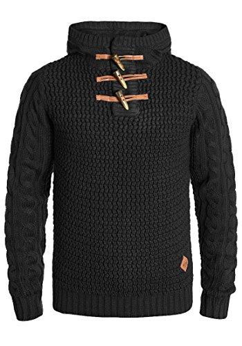 Redefined Rebel Mason Herren Winter Pullover Strickpullover Grobstrick Pullover mit Kapuze, Größe:M, Farbe:Black