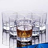 Indusbay Crystal Diamond Cut Straight Whisky Glasses | Wine Glasses | Home & Bar Tableware| Set Of 6 Glasses 200 Ml