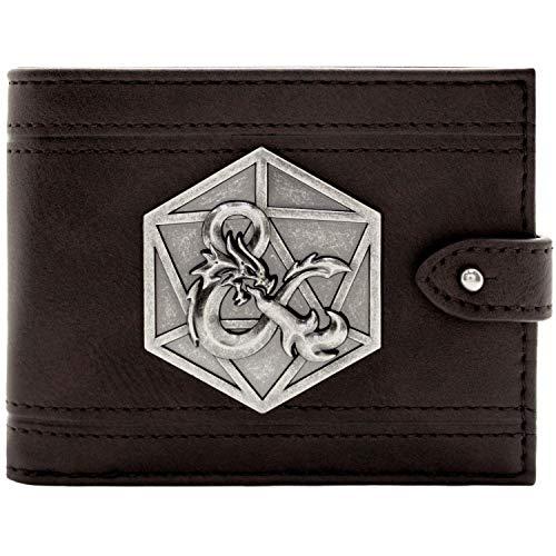Cartera de Dungeons & Dragons D&D Ampersand Insignia de Plata Negro