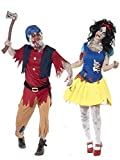 Couples Ladies Mens Zombie Snow White & Dwarf Halloween Fancy Dress Costumes Outfits (Ladies UK 12-14 & Mens Large)