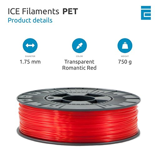 ICE FILAMENTS ICEFIL1PET154 PET Filament, 1,75 mm, 0,75 kg, Transparent Romantic Red - 2
