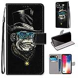 Miagon Flip PU Leder Schutzhülle für iPhone XR,Bunt Muster Hülle Brieftasche Case Cover Ständer mit Kartenfächer Trageschlaufe,Affe -