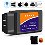 OBD2 WIFI, kungfuren [2018 AGGIORNATO] OBD 2 Diagnostica Auto Compatibile con IOS, Android & Dispositivi Windows Connessione Wireless per Auto