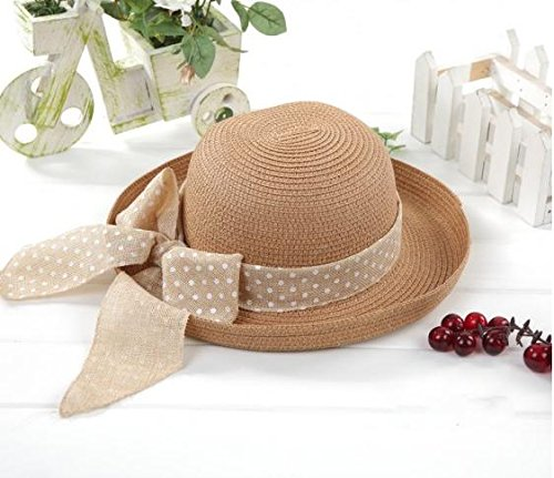 Heart&M Koreanische Version von der großen Strand Hüte Damen Sommer Schattierung des Band Grenze Ribbon Stroh Sonnenhut Bogen Frühjahr Flansches Cap . coffee color