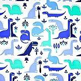 100% Baumwolle Baumwollstoff Kinder Kinderstoff Meterware Handwerken Nähen Stoff Tiermotiv 100x160cm 1 Meter (Dinosaurier Blau Lila)